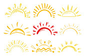 Sun Icons Vector Set. Doodle Different Suns