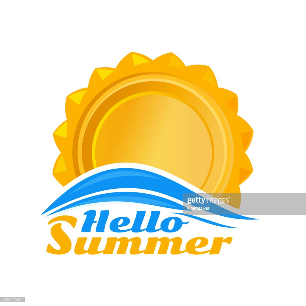 Sun logo icon. Hello summer