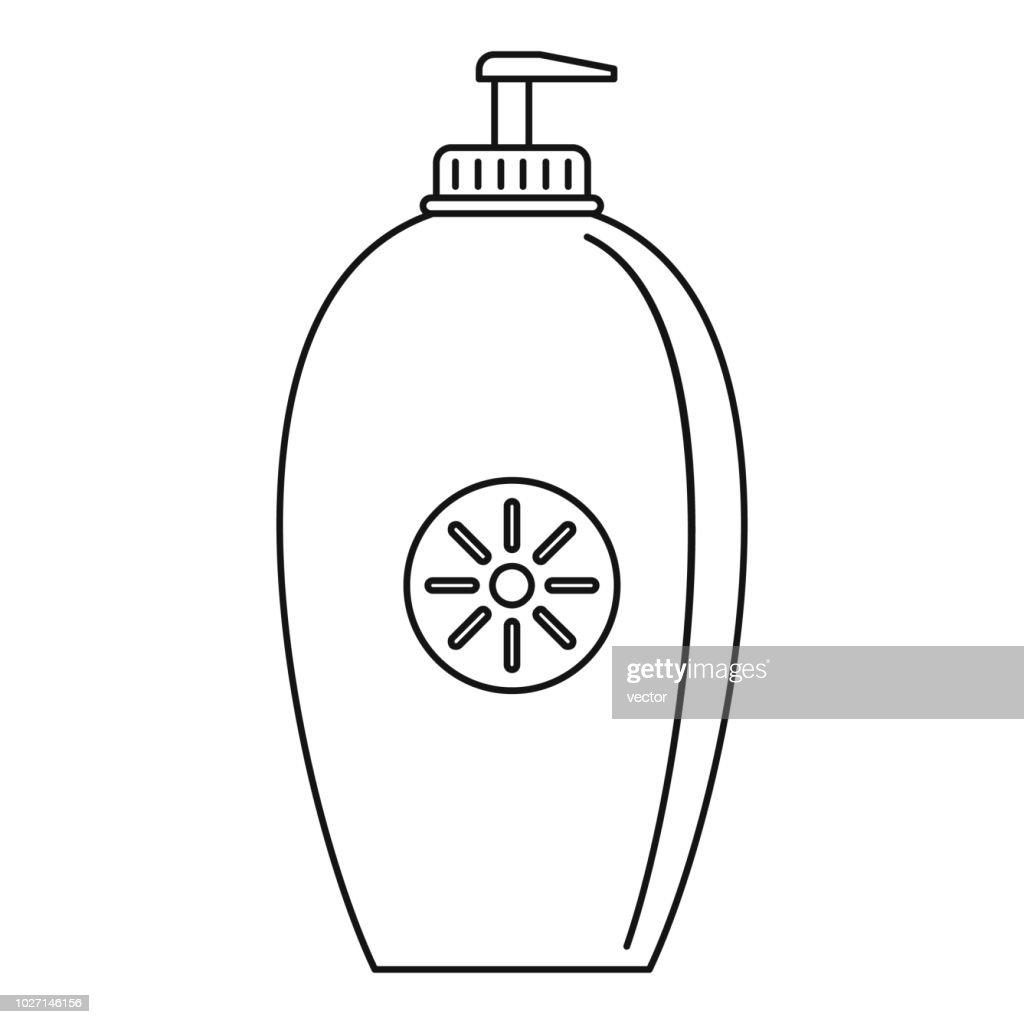 Sun lotion dispenser icon, outline style