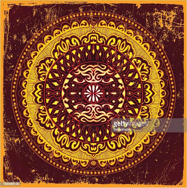 stockillustraties, clipart, cartoons en iconen met sun mandala - tibetaanse cultuur