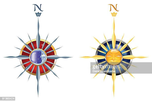 sun & moon compasses - man in the moon stock illustrations, clip art, cartoons, & icons