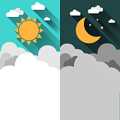 Sun, moon, stars and clouds banner. Day and night time concept vector banner. Sunny Day flyer. Star Moon Night flyer. Weather background. Forecast concept banner. Daytime poste