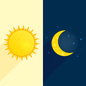 Sun, moon, stars banner. Day and night time concept vector. Sunny flyer illustration. Weather background. Forecast concept Daytime poster