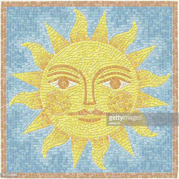 sun mosaic - mosaic stock illustrations
