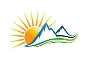 Sun Mountains symbol Vector illustration
