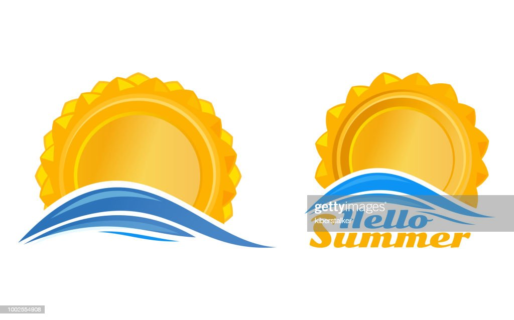 Sun over the sea wave. Set logo icon