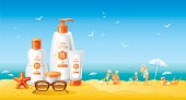 Sun protection cosmetics for family on the beach