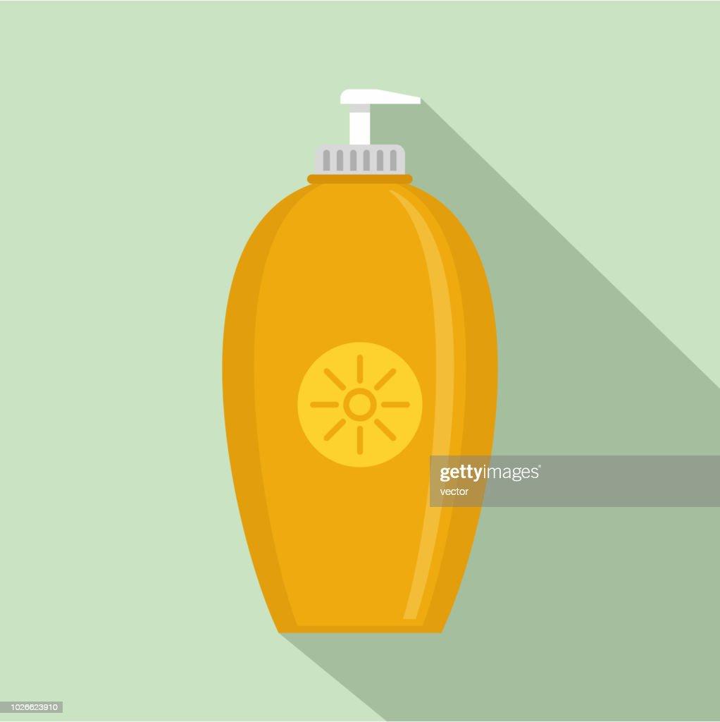Sun protection dispenser icon, flat style