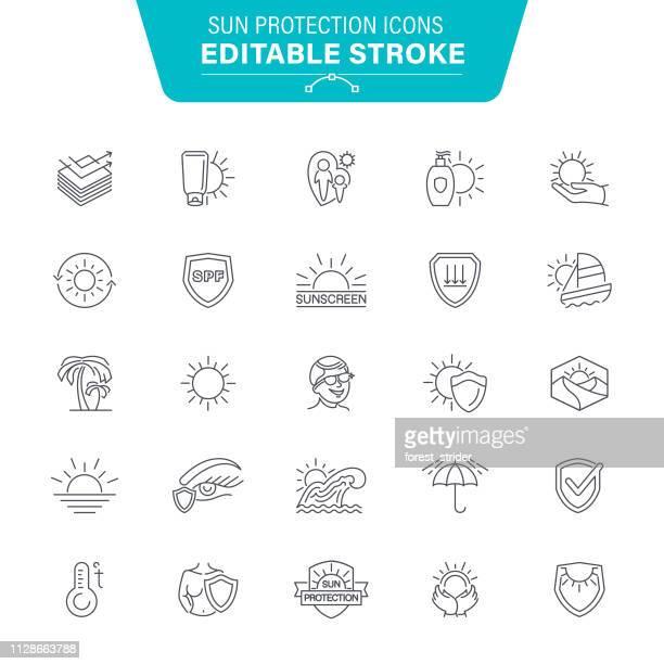 sonne-schutz-symbole - braun stock-grafiken, -clipart, -cartoons und -symbole