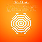 Sun protective umbrella fo beach icon isolated on orange background. Large parasol for outdoor space. Beach umbrella. Summer vacation or picnic accessory. Flat design. Vector Illustration