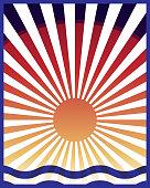 Sun rays,Japanese sun retro style, vertical background, sea,sunset