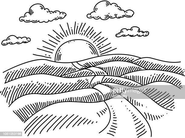 sonnenaufgang-landschaft zeichnung - federzeichnung stock-grafiken, -clipart, -cartoons und -symbole