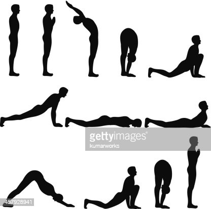 sun salutation exercise stock illustration  getty images