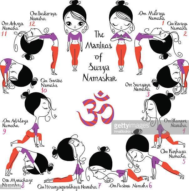 illustrations, cliparts, dessins animés et icônes de salutation au soleil. surya namaskar des mantras. - chakra