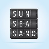 Sun Sea Sand departure board