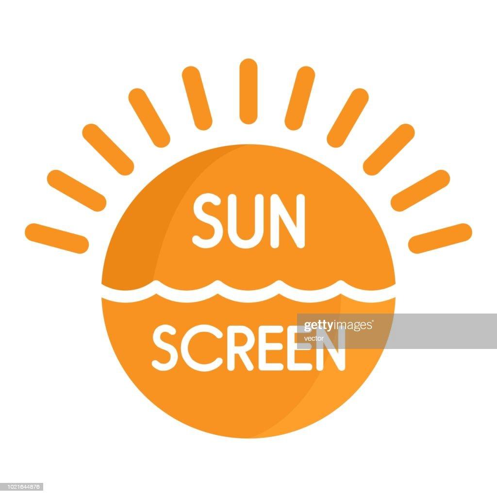 Sun sea screen uv logo, flat style
