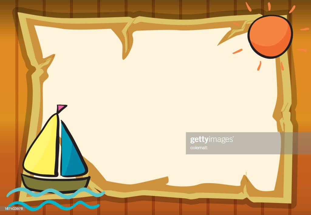 Soleil, bateau et feuille de papier : Clipart vectoriel