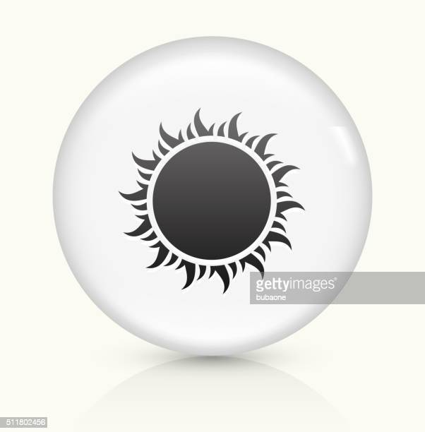 Sun Symbol icon on white round vector button
