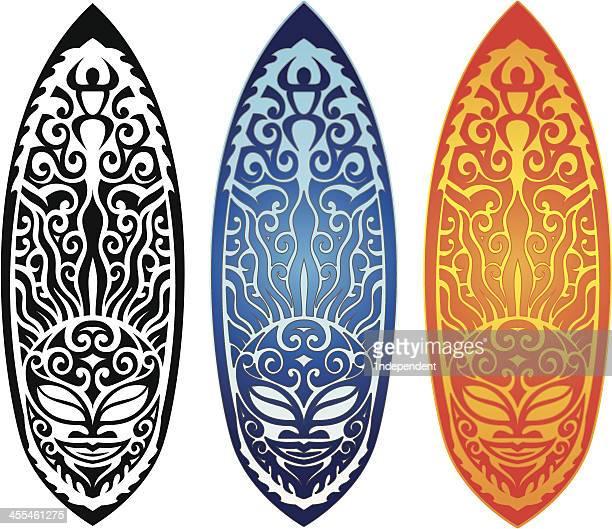 sun tribal surfboard - hawaiian ethnicity stock illustrations, clip art, cartoons, & icons