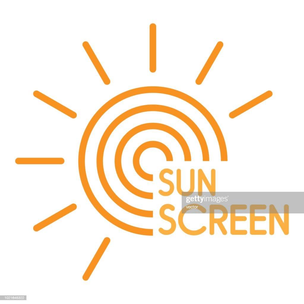 Sun uv screen logo, flat style