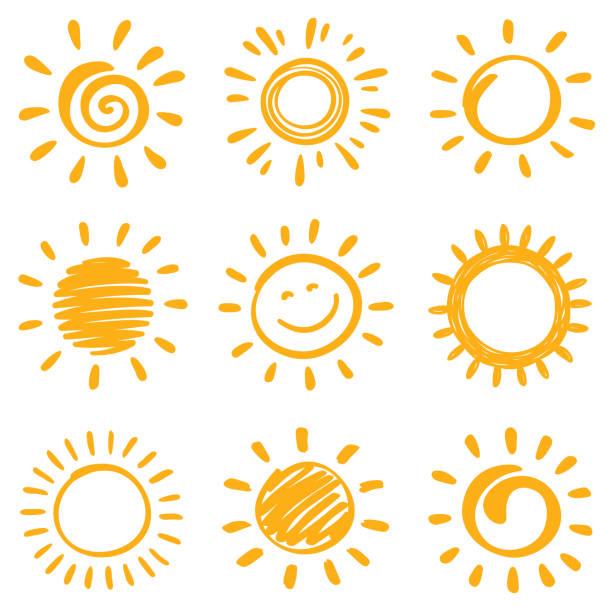 sun - pencil drawing stock illustrations