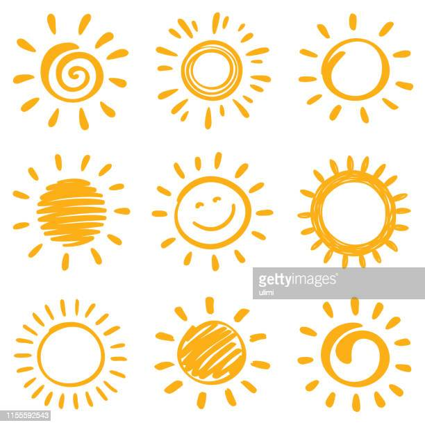 sun - illustration technique stock illustrations