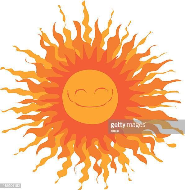 ilustraciones, imágenes clip art, dibujos animados e iconos de stock de el sol - sol en la cara