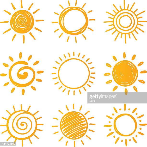 sun - pencil drawing stock illustrations, clip art, cartoons, & icons