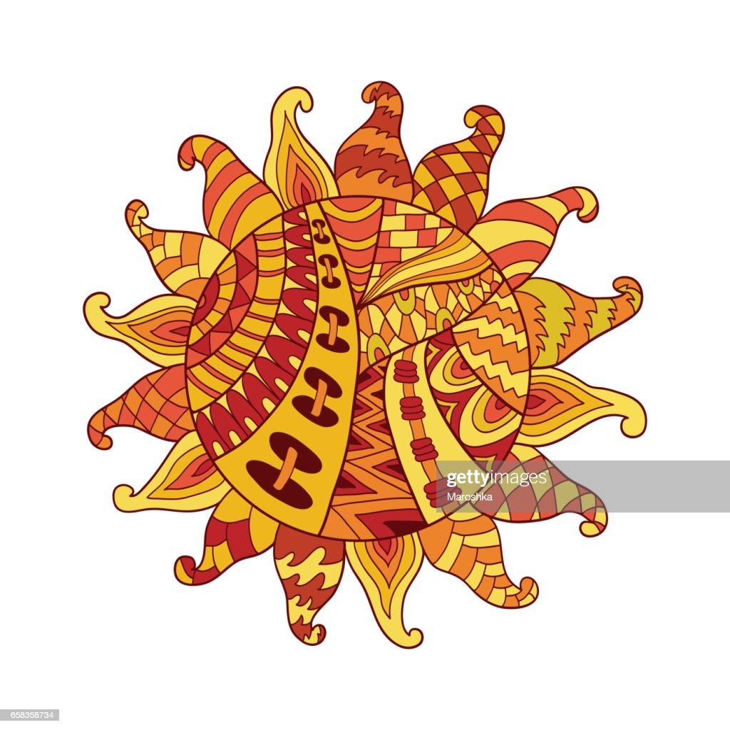 sun vector symbol. Sun tribal doodle ornament. Colorful ethnic pattern.