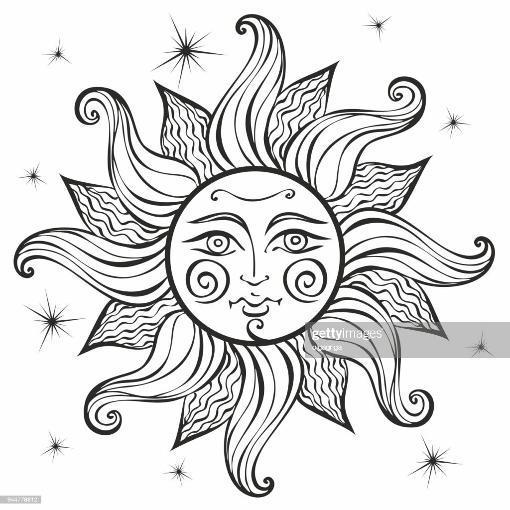 Sun. Vintage style. Astrology. Ethnic. Pagan. Boho Style. Coloring.  Vector