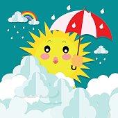sun with an umbrella in rainy season on the sky