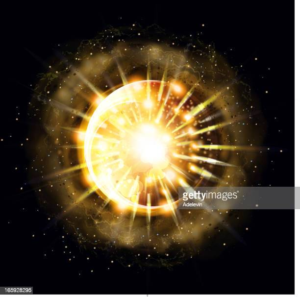 sun with bright rays - flare stack stock illustrations, clip art, cartoons, & icons
