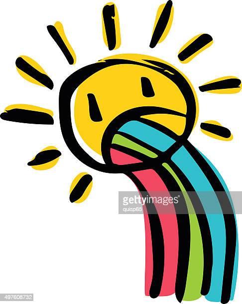 illustrations, cliparts, dessins animés et icônes de doodle soleil avec arc-en-ciel - vomit