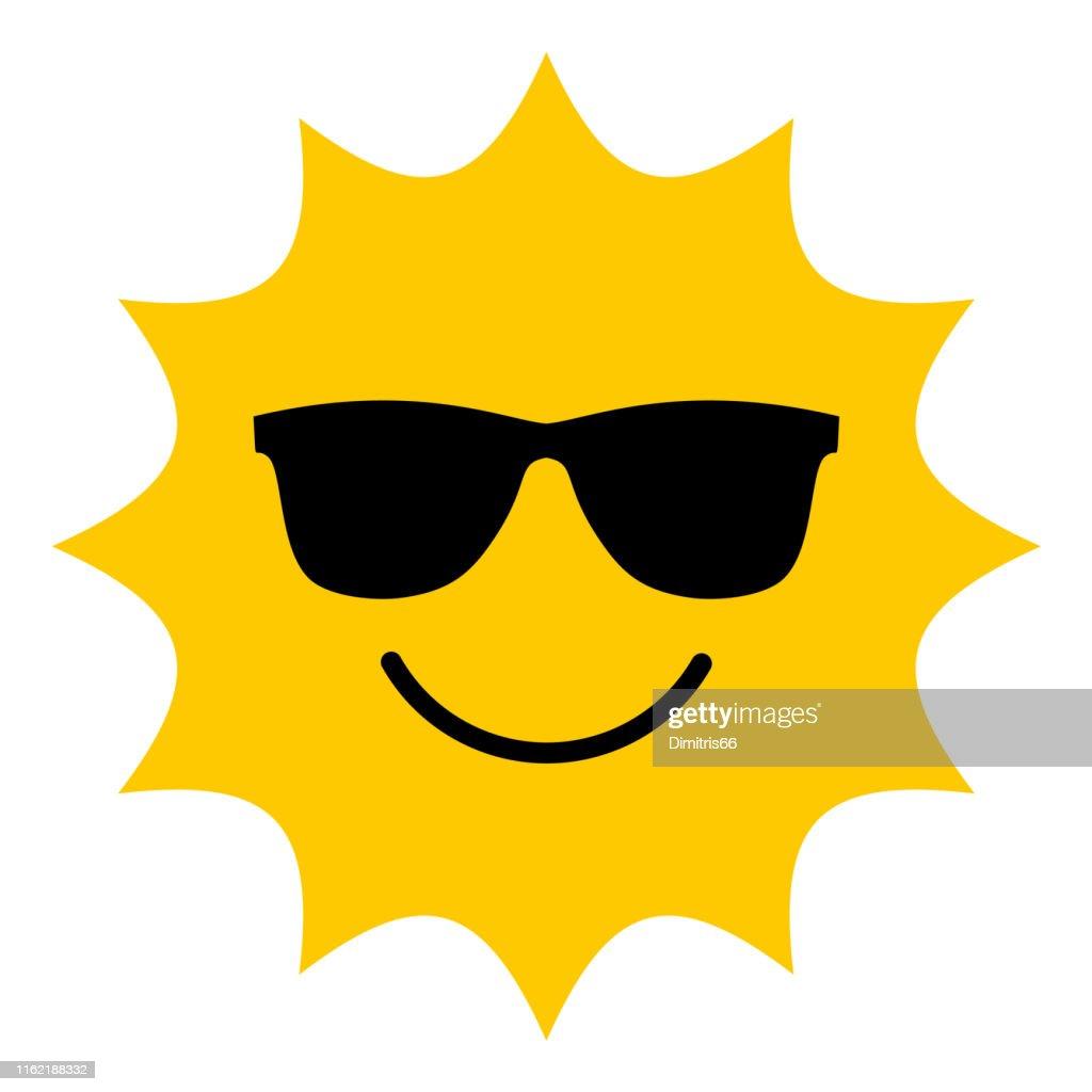Sun with sunglasses smiling icon : Stock Illustration