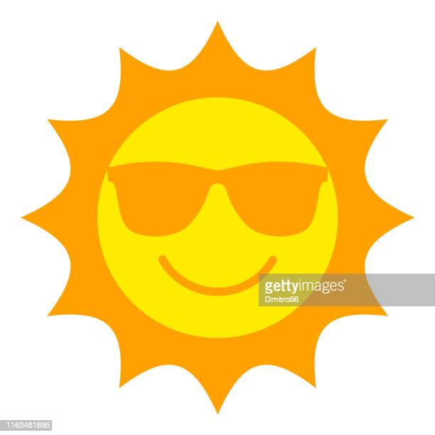 sun with sunglasses smiling icon - sun stock illustrations