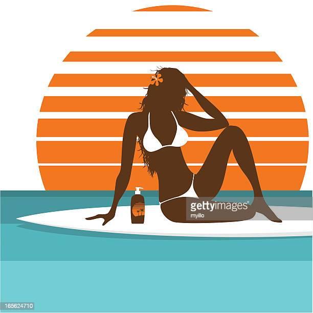 sunbath - swimwear stock illustrations, clip art, cartoons, & icons