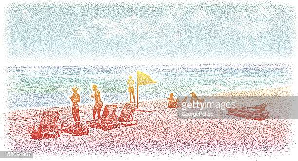sunbathing at the beach - individual event stock illustrations