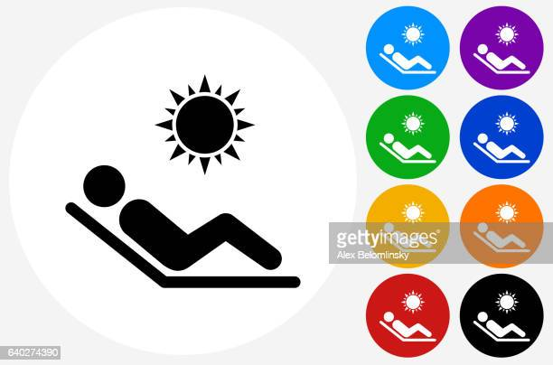 Sunbathing Icon on Flat Color Circle Buttons