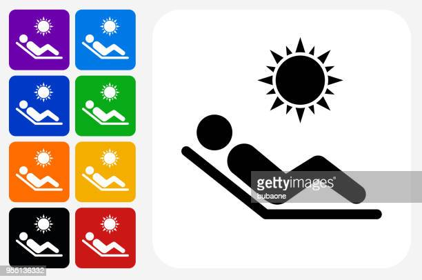 illustrations, cliparts, dessins animés et icônes de bain de soleil square icône bouton set - bain de soleil