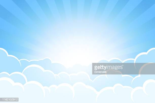 sunbeams and sky behind clouds - heaven stock illustrations