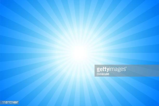 sunbeams: bright rays background - blue stock illustrations