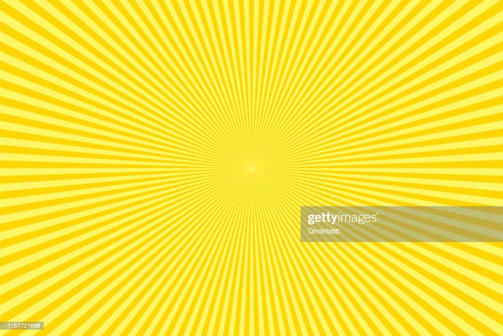 Sonnenstrahlen: Gelbe Strahlen Hintergrund : Stock-Illustration