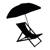 Sunbed with umbrella flat icon. Silhuette Vector illustration