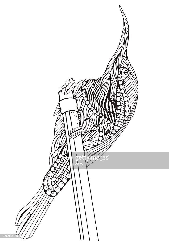 Sunbird Artistic Bird Coloring Book Page Stock-Illustration ...