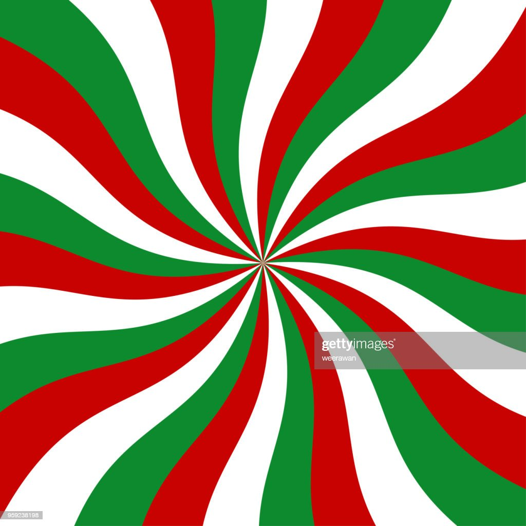 Sunburst red, green and white vector background.