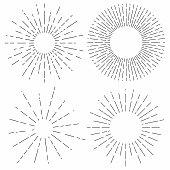 Sunburst set. Sunshine rays in vintage style. Light rays, radial sunbeam decoration