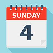 Sunday 4 - Calendar Icon. Vector illustration of week day paper leaf.
