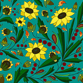 sunflower and leaf on a turquoise background