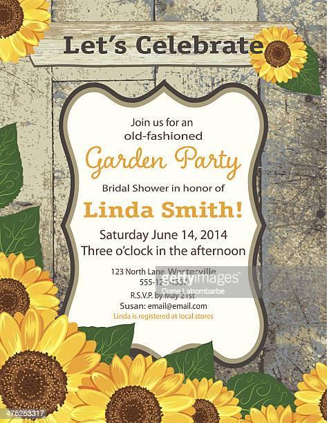 sunflower bridal shower invitation template - sunflower stock illustrations, clip art, cartoons, & icons