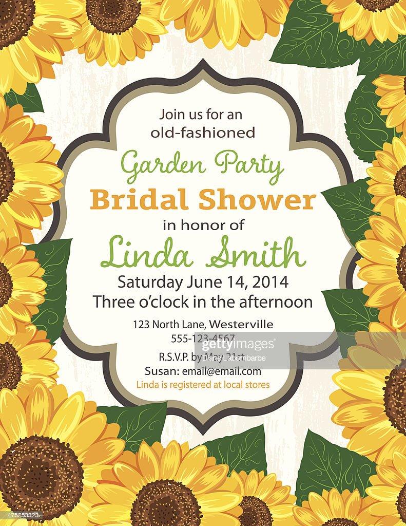 sunflower bridal shower invitation template vector art
